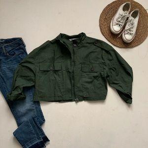 Zara | Cropped Olive Green Military Jacket